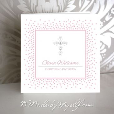 Delicate Cross Christening Invitation - Girl
